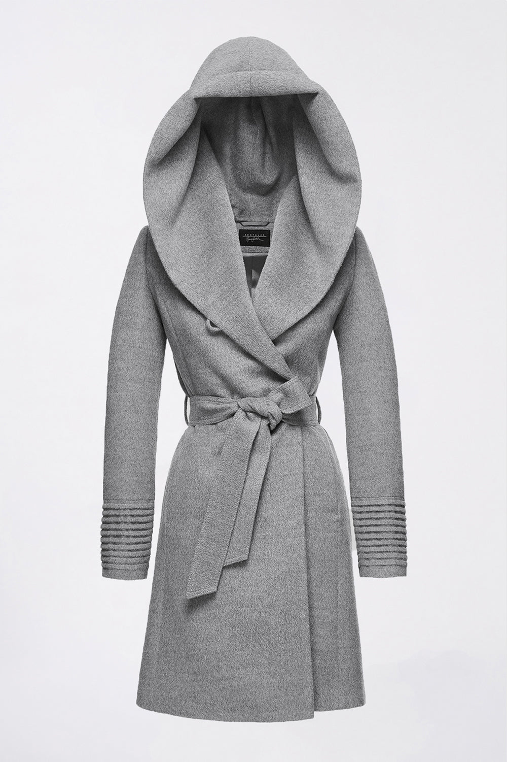 Sentaler Mid Length Hooded Wrap Coat featured in Baby Alpaca and available in Shale Grey. Seen off model.