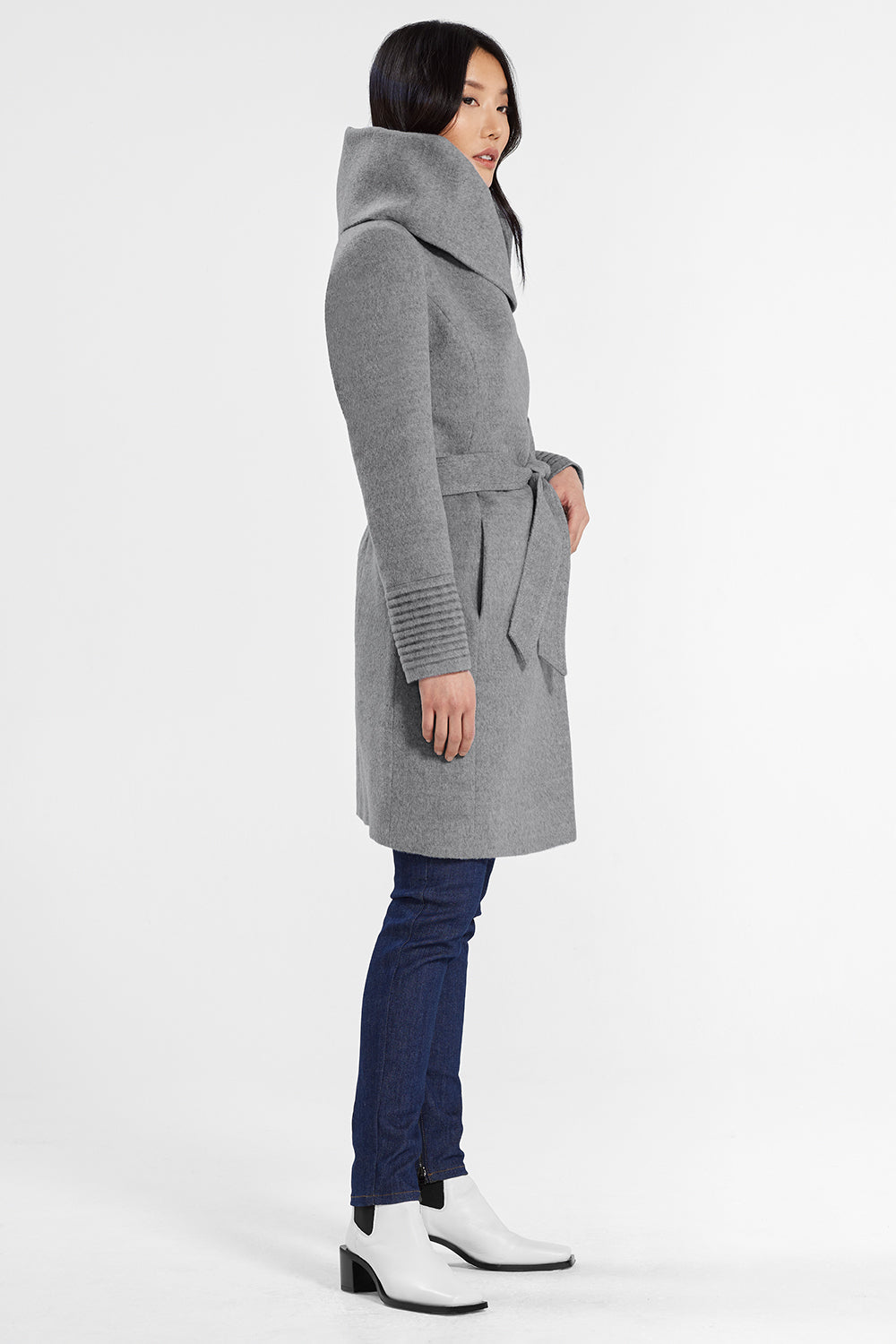 Sentaler Mid Length Hooded Wrap Coat featured in Baby Alpaca and available in Shale Grey. Seen from side.