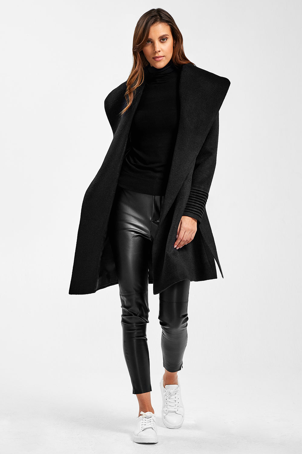 Sentaler Mid Length Shawl Collar Wrap Coat featured in Baby Alpaca and available in Black. Seen open.