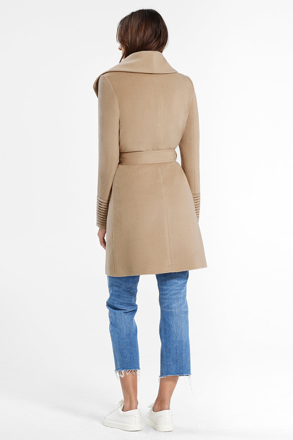 Sentaler Mid Length Shawl Collar Wrap Coat featured in Baby Alpaca and available in Camel. Seen from back.