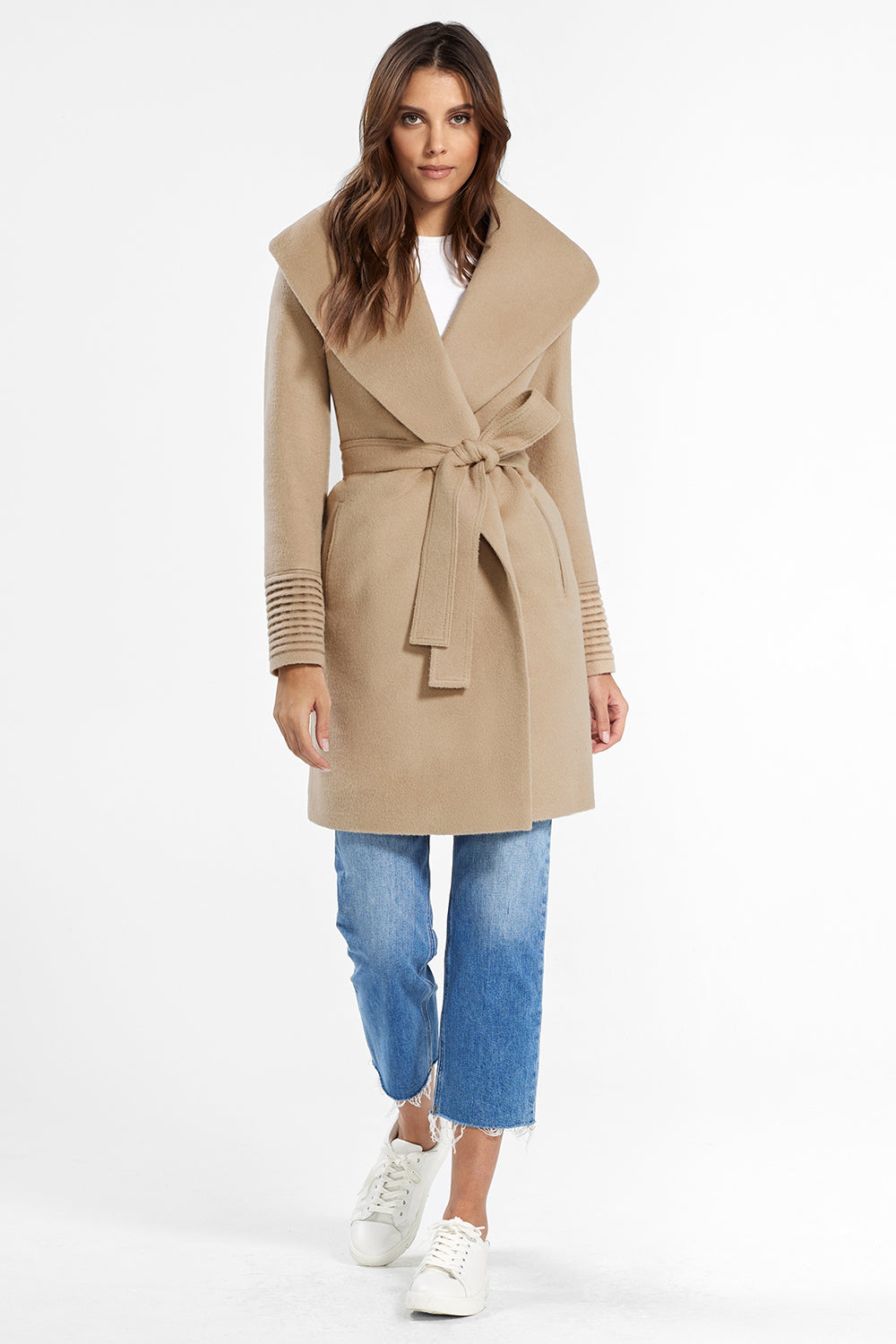Sentaler Mid Length Shawl Collar Wrap Coat featured in Baby Alpaca and available in Camel. Seen from front.