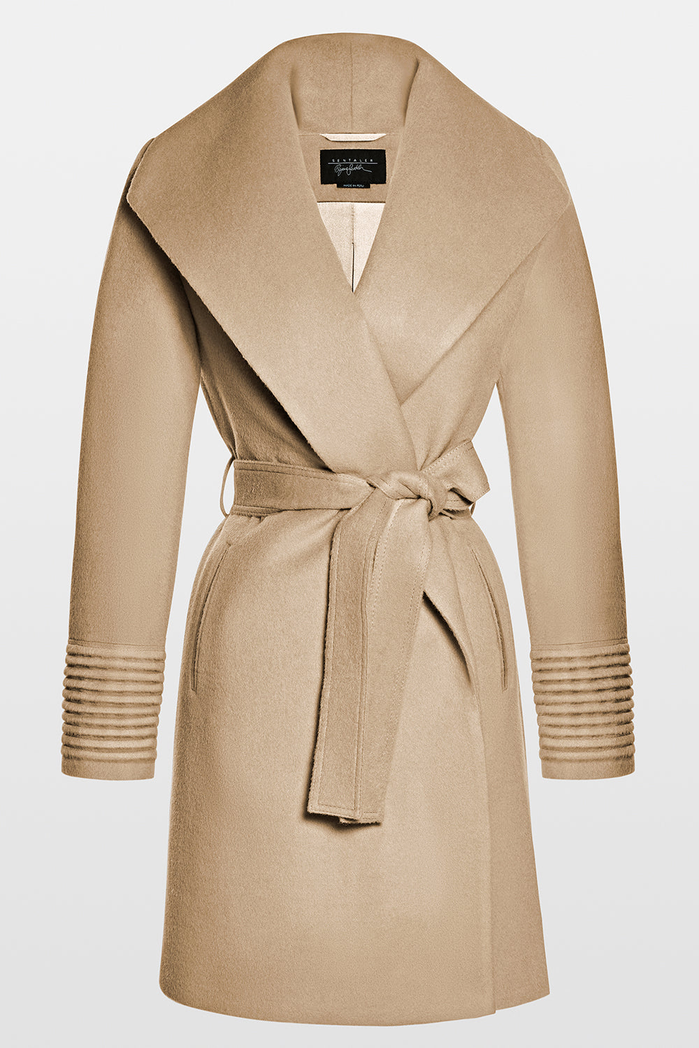 Mid Length Shawl Collar Wrap Coat