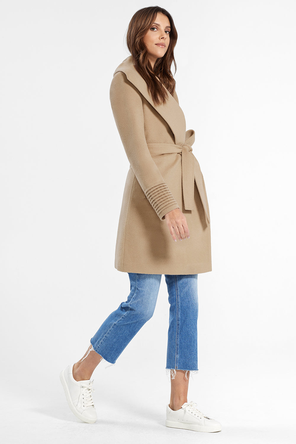Sentaler Mid Length Shawl Collar Wrap Coat featured in Baby Alpaca and available in Camel. Seen from side.