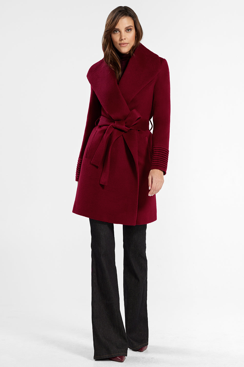 Sentaler Mid Length Shawl Collar Wrap Coat featured in Baby Alpaca and available in Garnet Red. Seen from front.