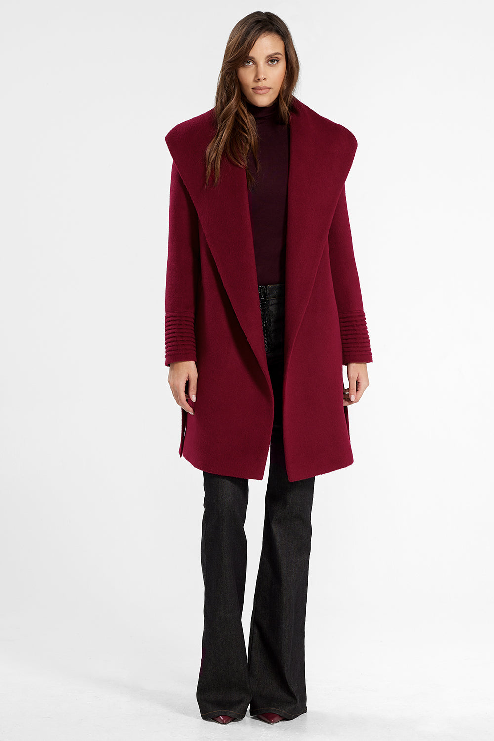 Sentaler Mid Length Shawl Collar Wrap Coat featured in Baby Alpaca and available in Garnet Red. Seen open.