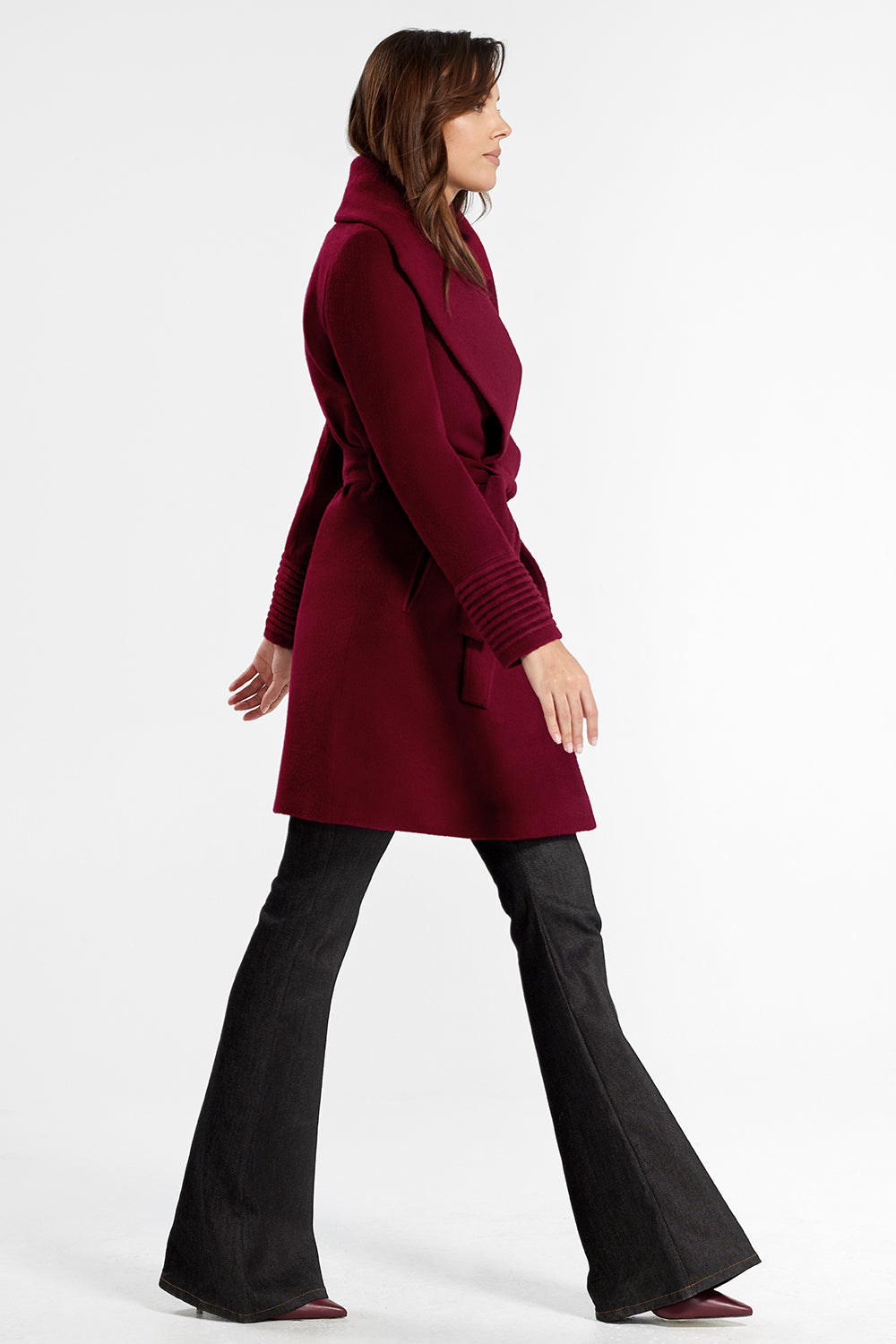 Sentaler Mid Length Shawl Collar Wrap Coat featured in Baby Alpaca and available in Garnet Red. Seen from side.