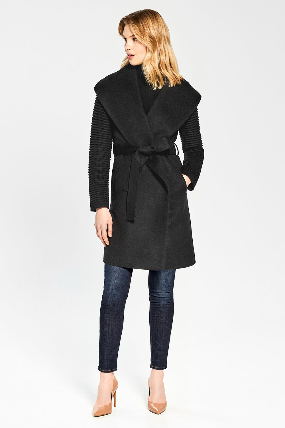 Sentaler Mid Length Shawl Collar Wrap Coat with Ribbed Sleeves featured in Baby Alpaca and available in Black. Seen from front.