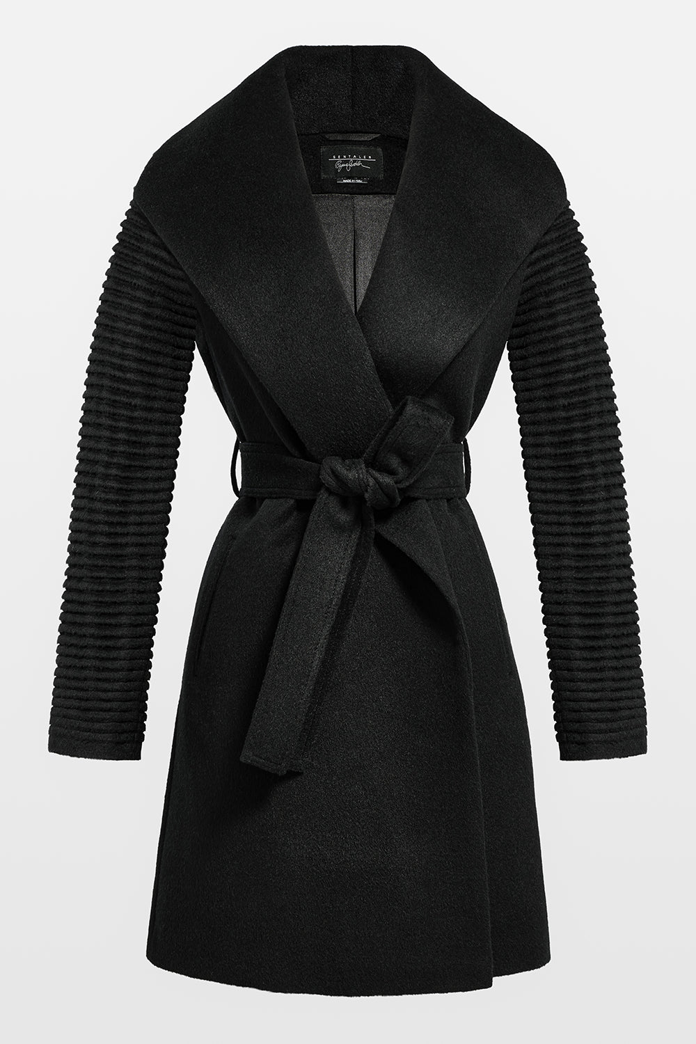 Sentaler Mid Length Shawl Collar Wrap Coat with Ribbed Sleeves featured in Baby Alpaca and available in Black. Seen off model.
