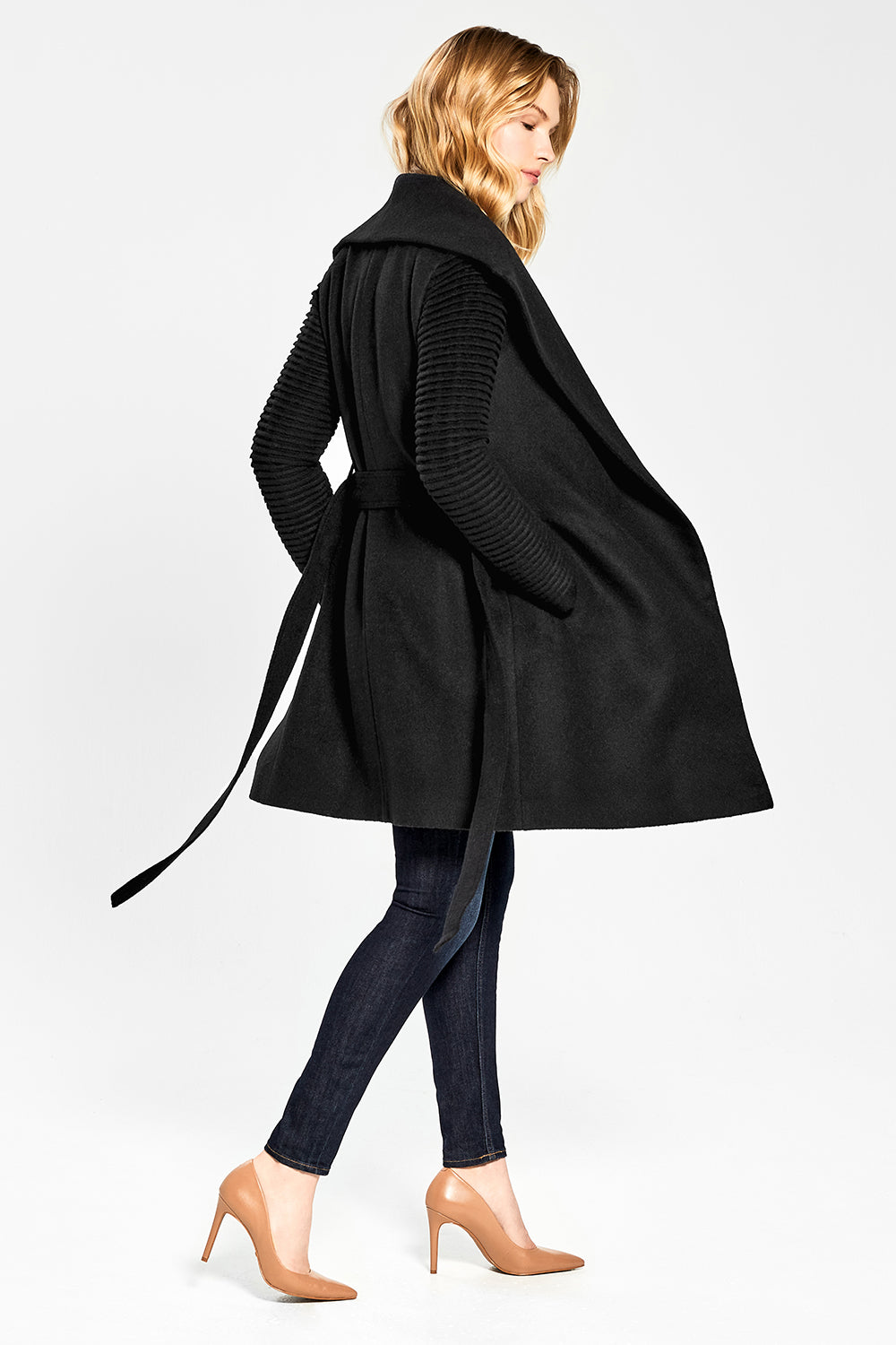 Sentaler Mid Length Shawl Collar Wrap Coat with Ribbed Sleeves featured in Baby Alpaca and available in Black. Seen open.