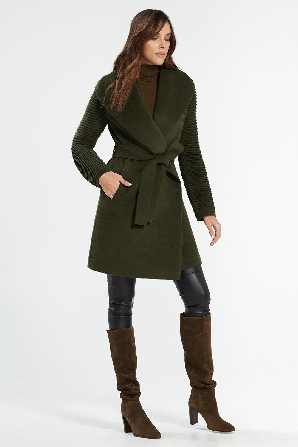 Sentaler Mid Length Shawl Collar Wrap Coat with Ribbed Sleeves featured in Baby Alpaca and available in Olive. Seen from side.