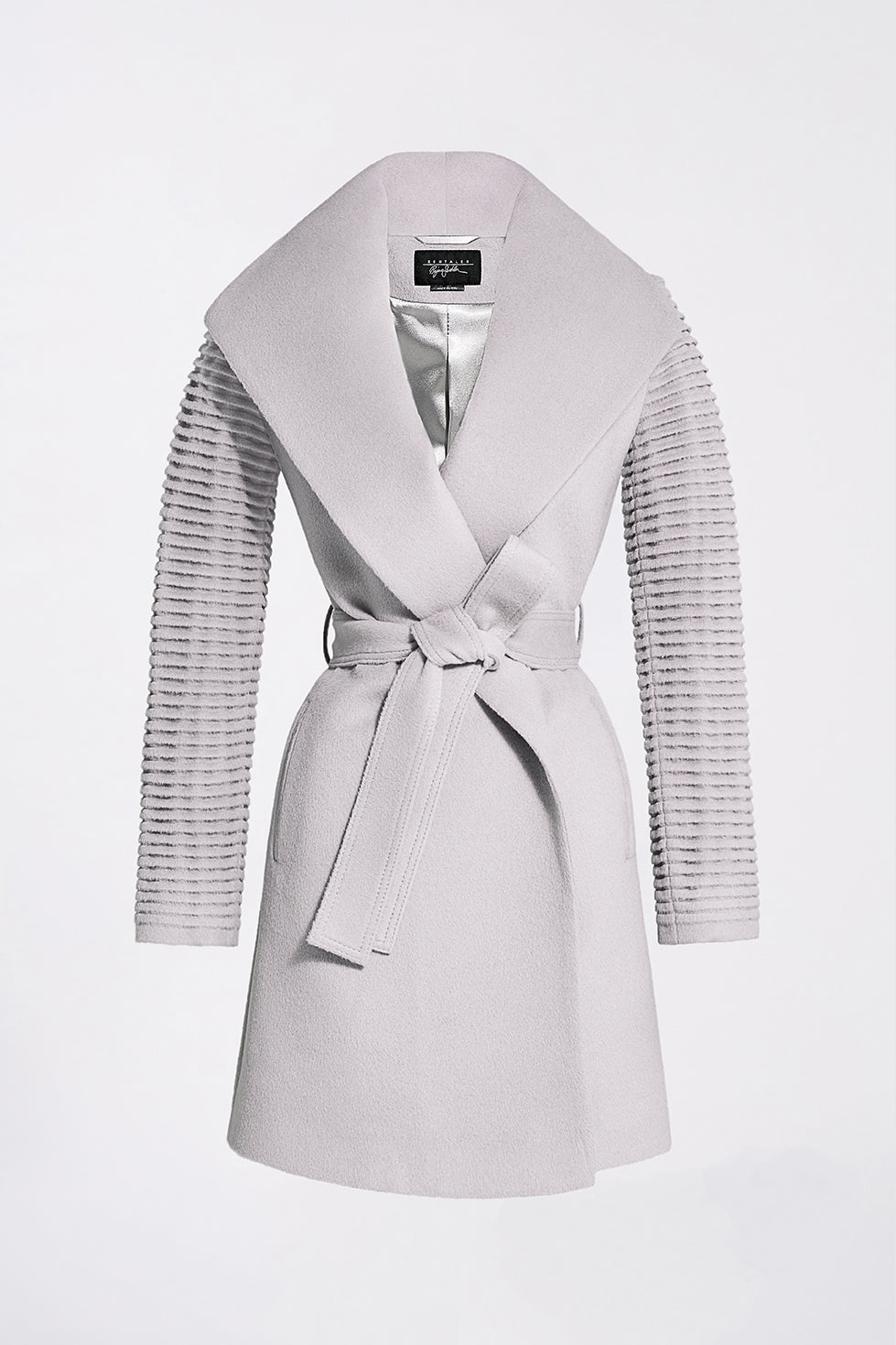 Mid Length Shawl Collar Wrap Coat with Ribbed Sleeves, Opal Grey