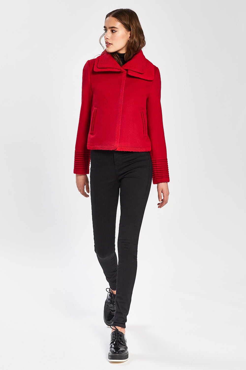 Sentaler Moto Jacket with Signature Double Collar featured in Baby Alpaca and available in Scarlet Red. Seen from front.