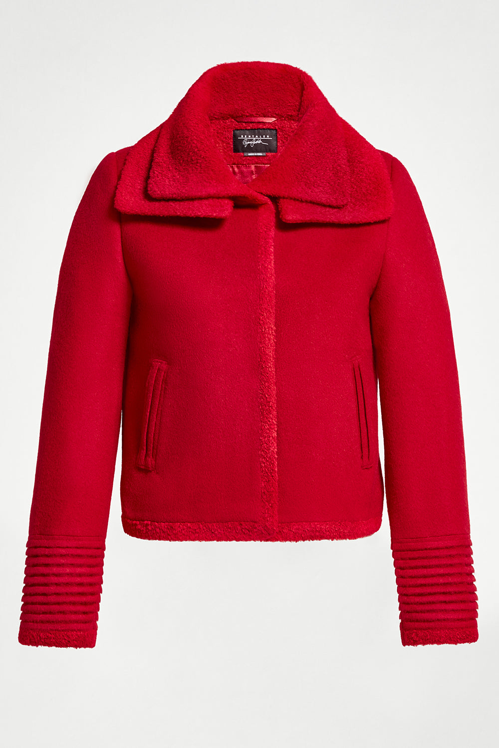 Sentaler Moto Jacket with Signature Double Collar featured in Baby Alpaca and available in Scarlet Red. Seen off model.