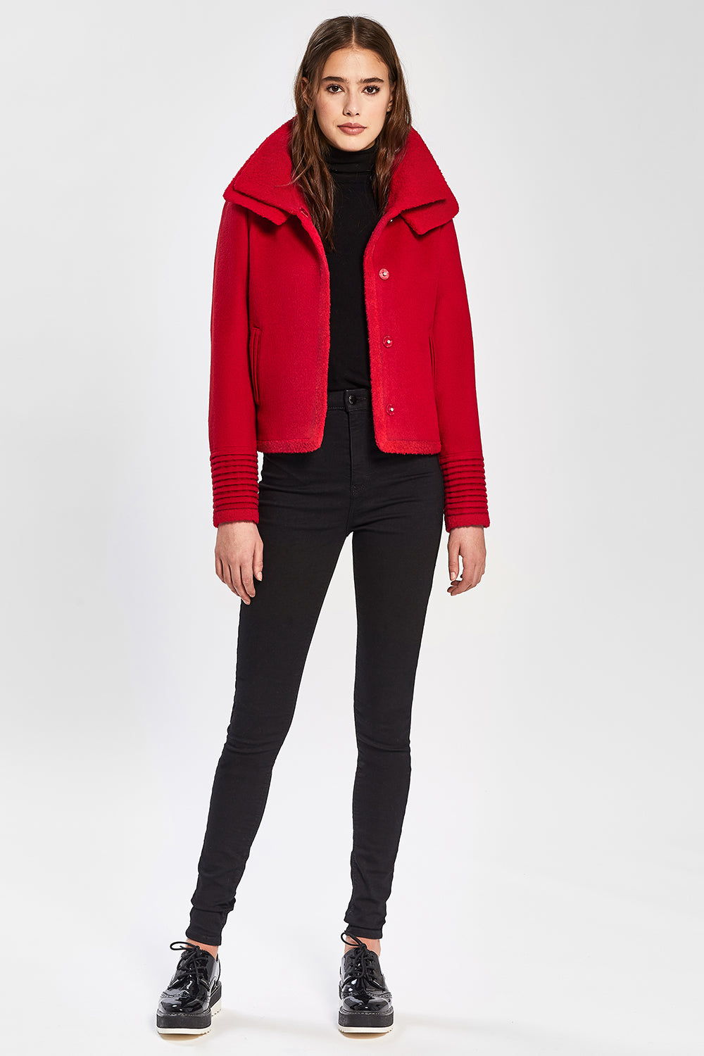 Sentaler Moto Jacket with Signature Double Collar featured in Baby Alpaca and available in Scarlet Red. Seen open.