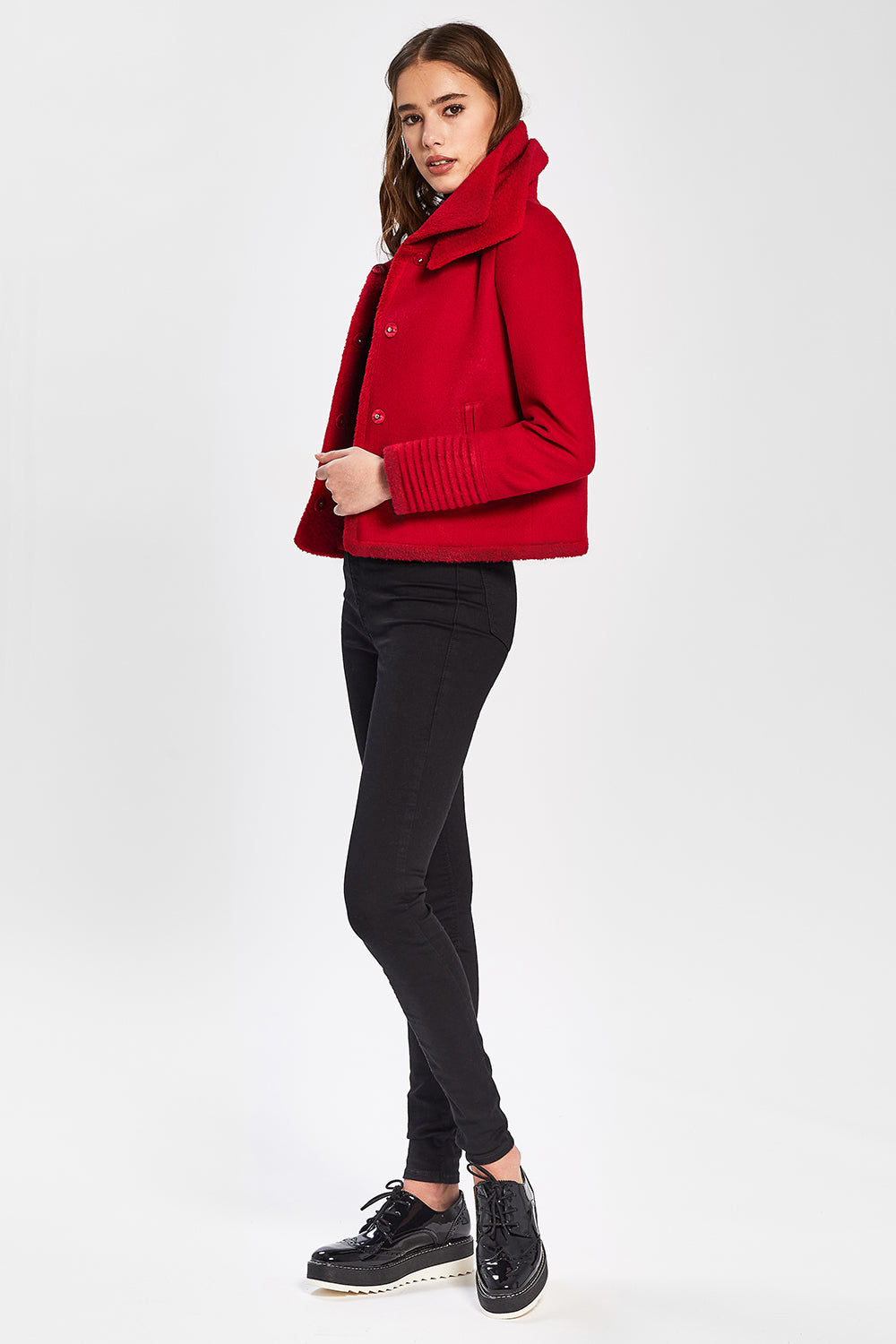 Sentaler Moto Jacket with Signature Double Collar featured in Baby Alpaca and available in Scarlet Red. Seen from side.