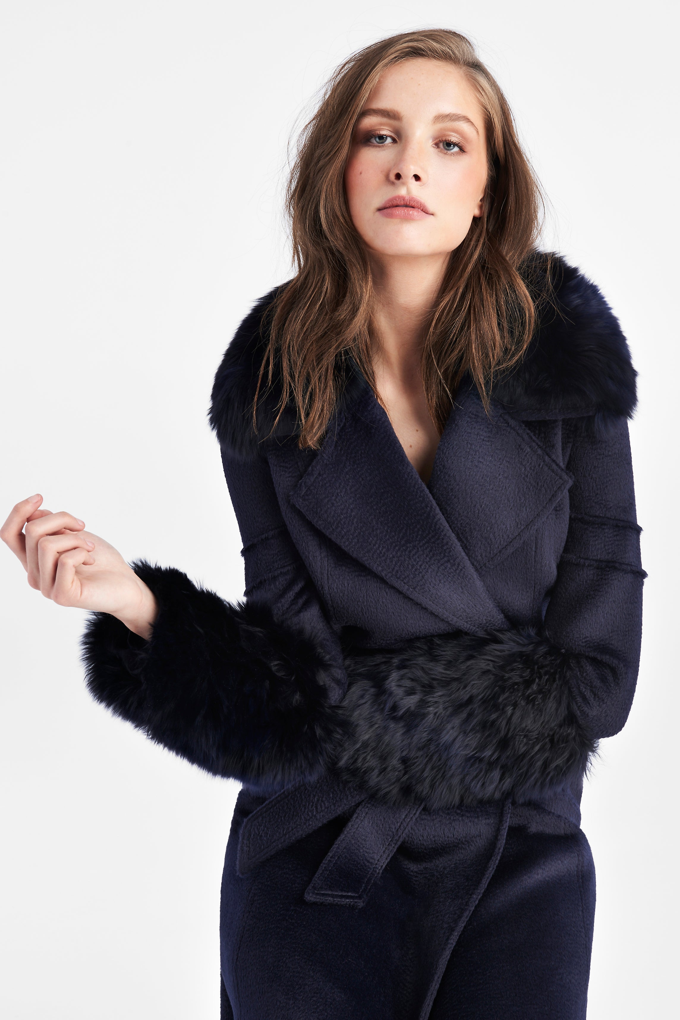 Notched Collar Wrap Coat with Fur Collar and Cuffs