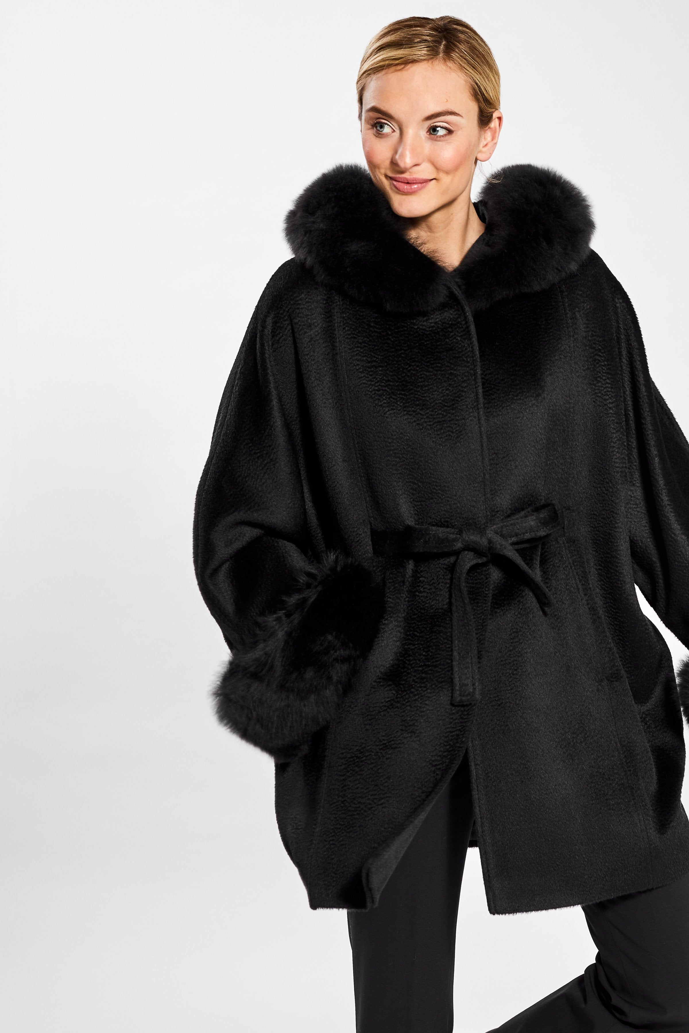 Oversized Coat with Fur Hood and Cuffs, Black