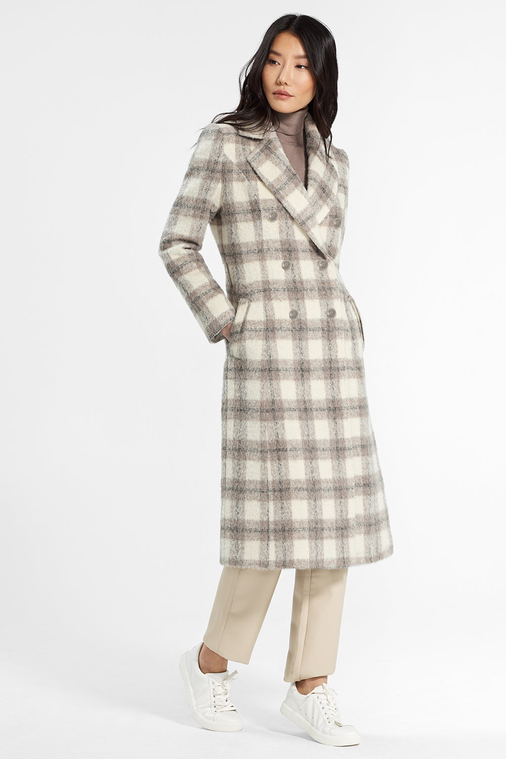 Sentaler Plaid Long Double Breasted Coat featured in Suri Alpaca and available in Ecru Plaid. Seen from front.