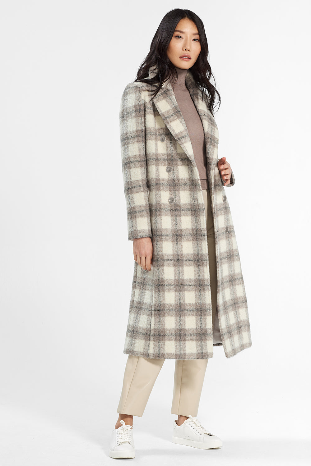 Sentaler Plaid Long Double Breasted Coat featured in Suri Alpaca and available in Ecru Plaid. Seen open..