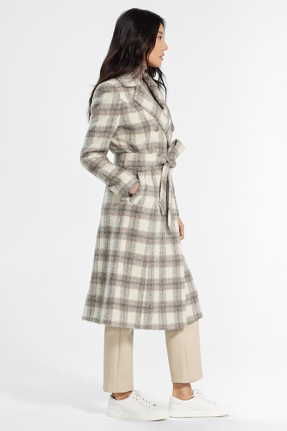 Sentaler Plaid Long Double Breasted Coat featured in Suri Alpaca and available in Ecru Plaid. Seen from side..