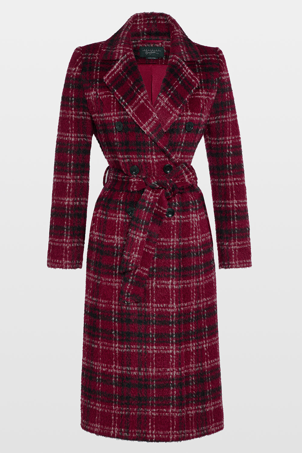 Sentaler Plaid Long Double Breasted Coat featured in Suri Alpaca and available in Garnet Red Plaid. Seen off model.