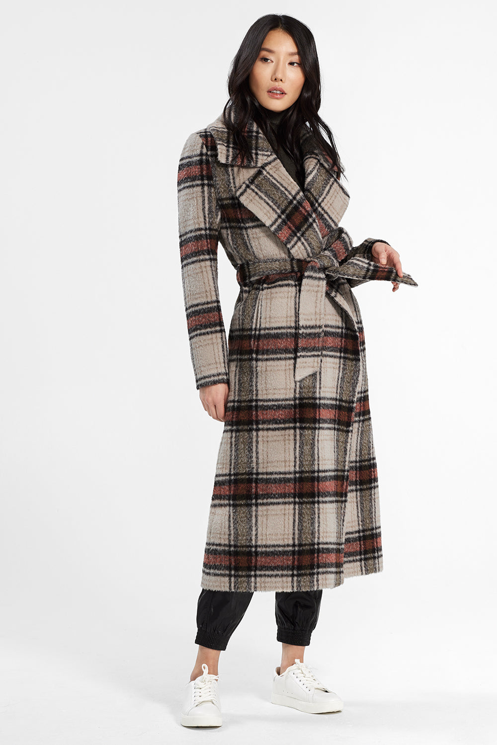 Sentaler Plaid Long Notched Collar Wrap Coat featured in Suri Alpaca and available in Sand Plaid. Seen from front.