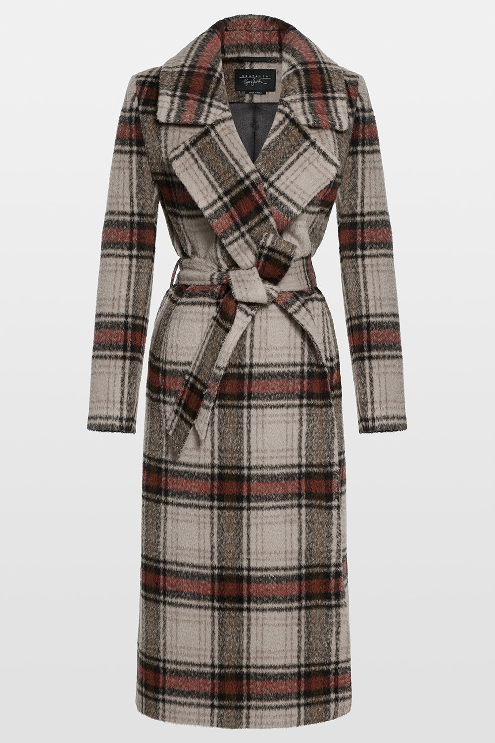 Sentaler Plaid Long Notched Collar Wrap Coat featured in Suri Alpaca and available in Sand Plaid. Seen off model.