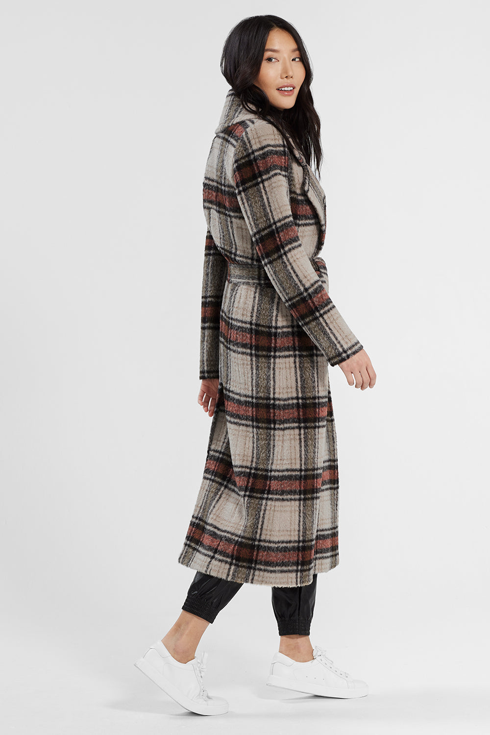 Sentaler Plaid Long Notched Collar Wrap Coat featured in Suri Alpaca and available in Sand Plaid. Seen from side.
