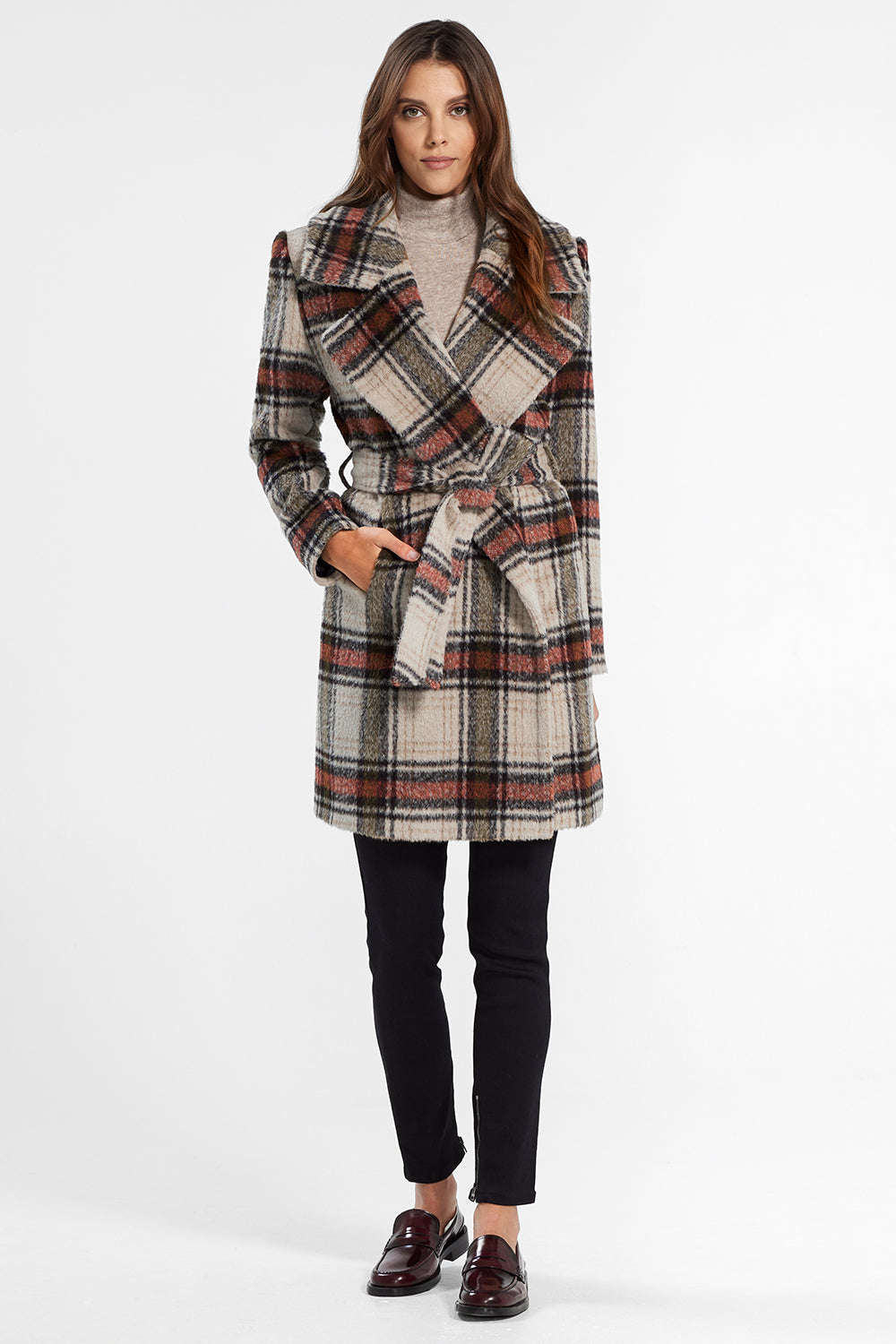 Sentaler Plaid Mid Length Notched Collar Wrap Coat featured in Suri Alpaca and available in Sand Plaid. Seen from front.