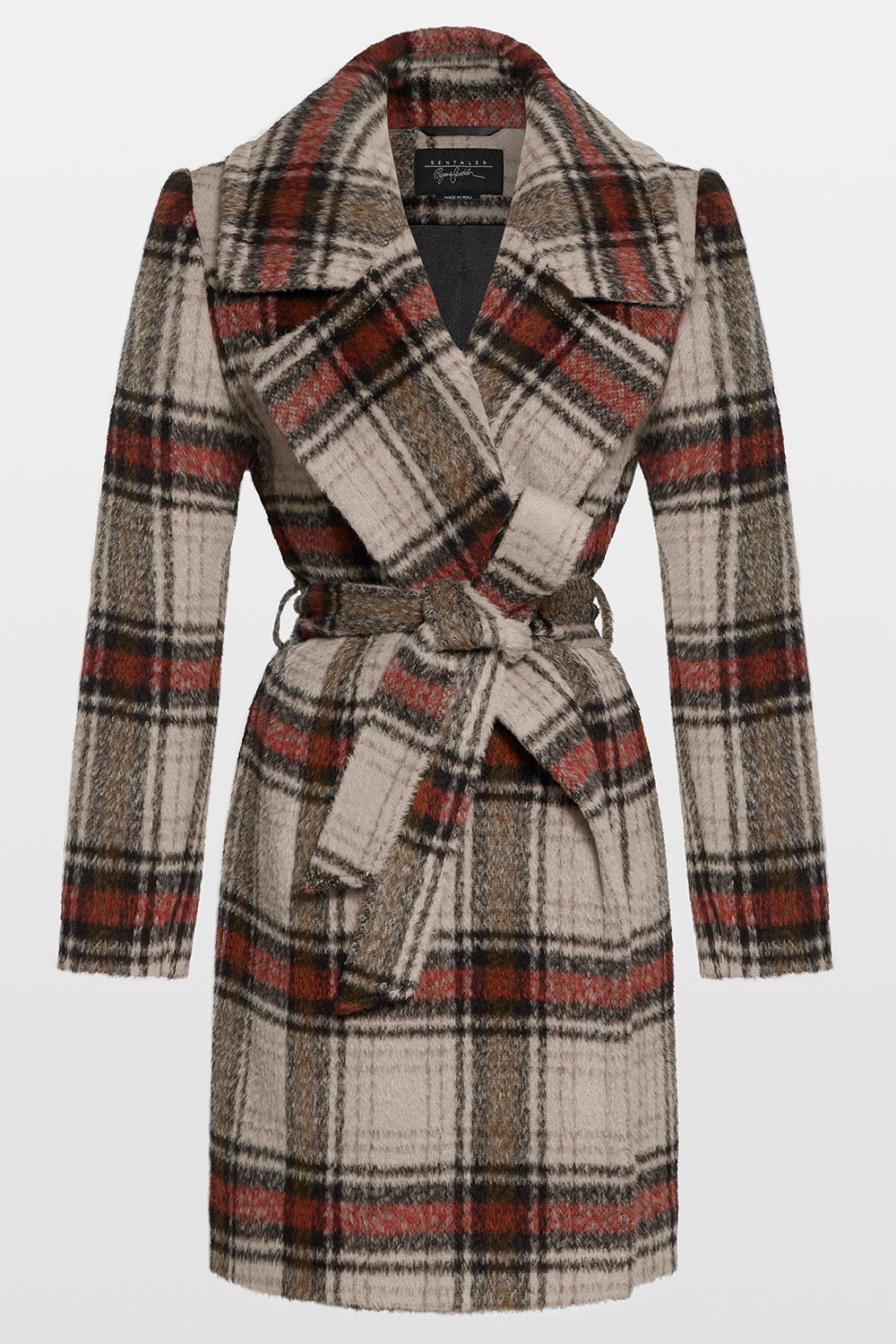 Sentaler Plaid Mid Length Notched Collar Wrap Coat featured in Suri Alpaca and available in Sand Plaid. Seen off model.