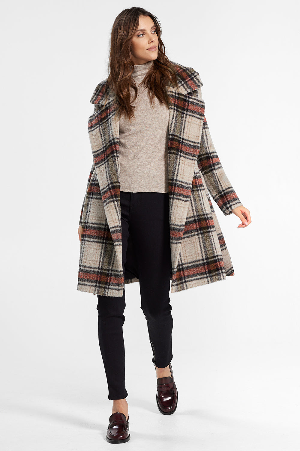 Sentaler Plaid Mid Length Notched Collar Wrap Coat featured in Suri Alpaca and available in Sand Plaid. Seen open
