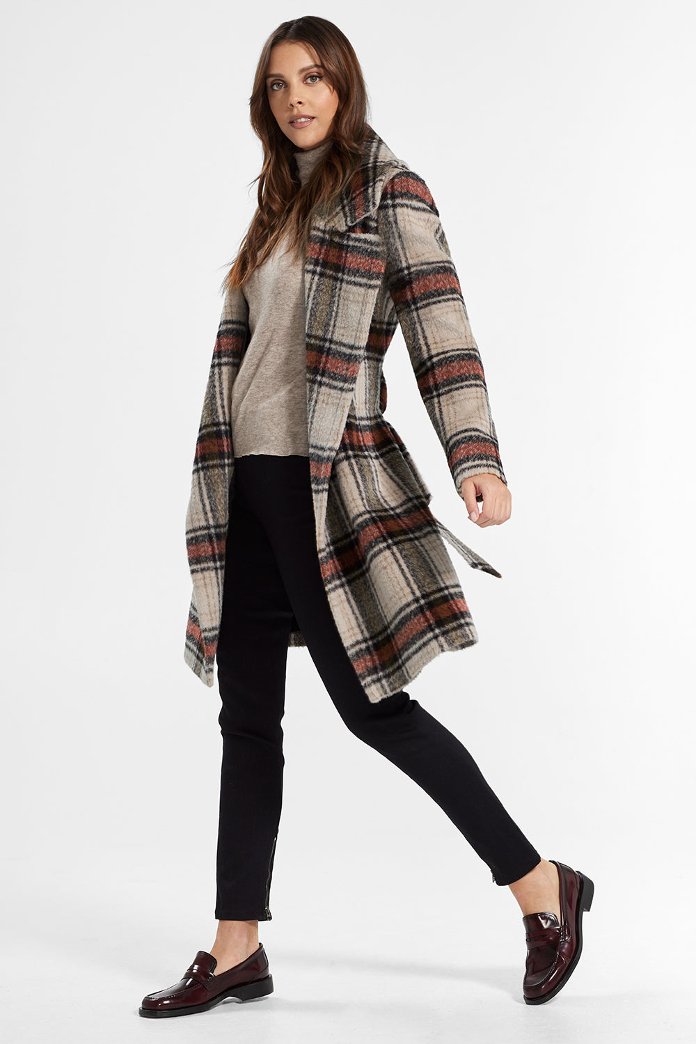 Sentaler Plaid Mid Length Notched Collar Wrap Coat featured in Suri Alpaca and available in Sand Plaid. Seen from side open