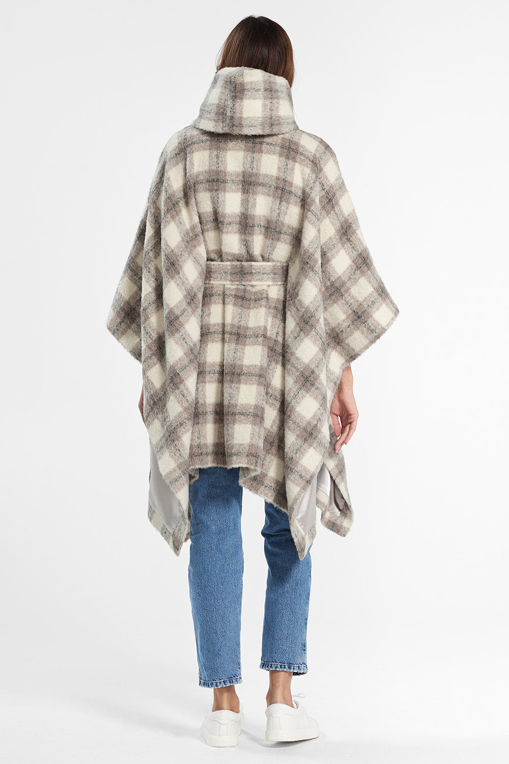 Sentaler Plaid Oversized Hooded Poncho with Belt featured in Suri Alpaca and available in Ecru Plaid. Seen from back.