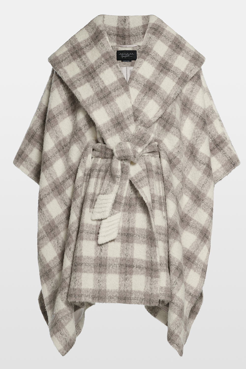 Sentaler Plaid Oversized Hooded Poncho with Belt featured in Suri Alpaca and available in Ecru Plaid. Seen off model.