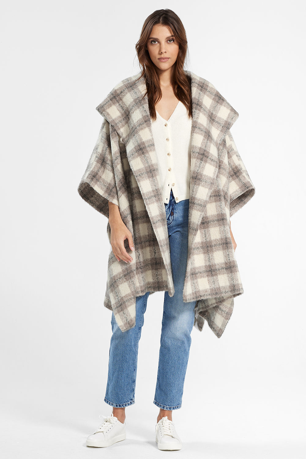 Sentaler Plaid Oversized Hooded Poncho with Belt featured in Suri Alpaca and available in Ecru Plaid. Seen open.