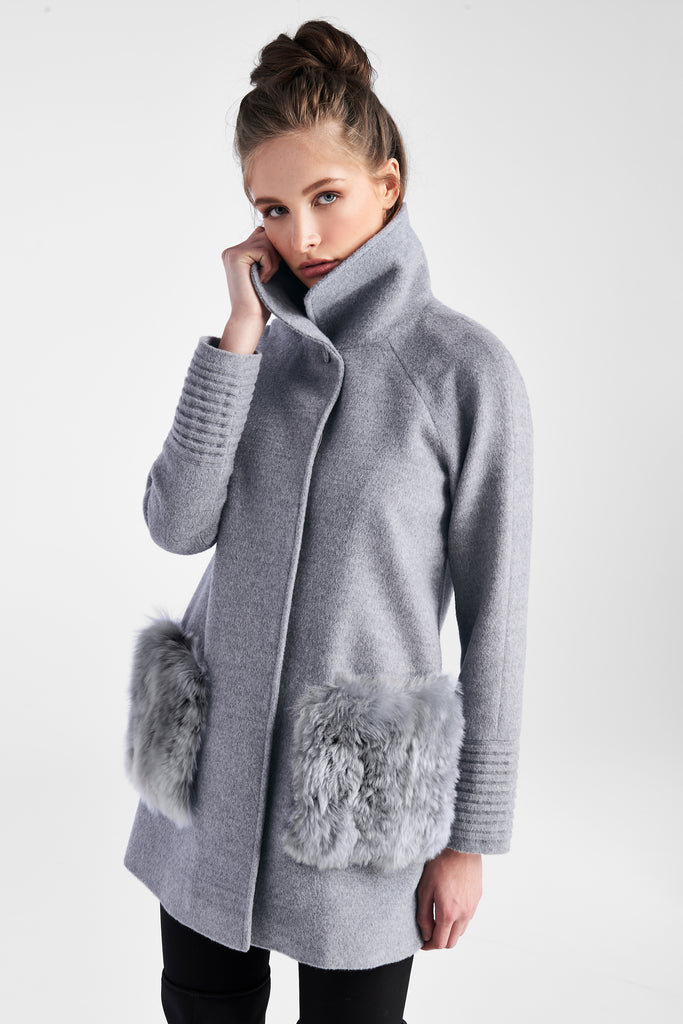 Raglan Sleeve Straight Cut Coat with Fur Pockets, Shale Grey