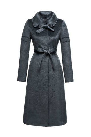 Long Fitted Coat with Tie </br> Charcoal Grey FW17 Pre Order