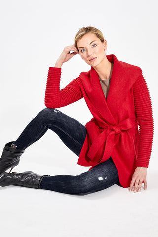 Wrap Coat with Ribbed Sleeves, Primary Red