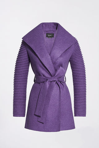 Wrap Coat with Ribbed Sleeves, Ripe Berry