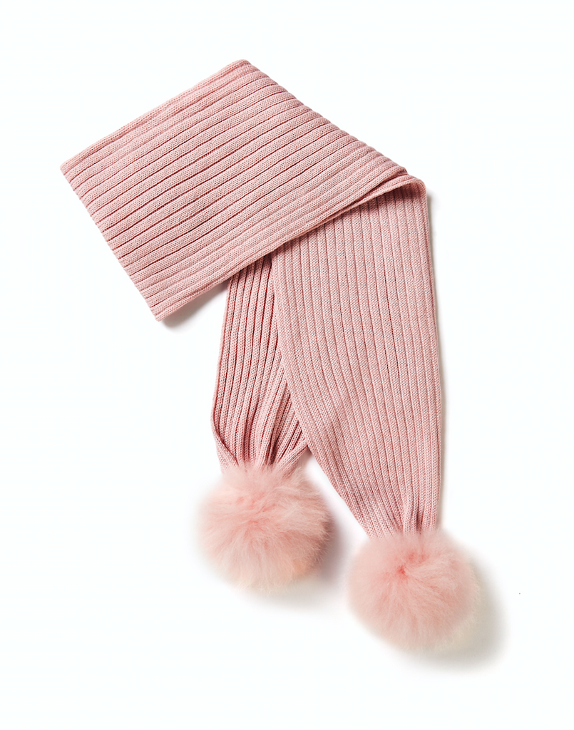 KIDS Scarf with Oversized Fur Pompons, Pink