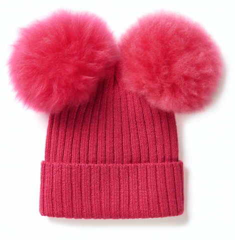 KIDS Hat with Two Oversized Fur Pompons, Tourmaline Pink