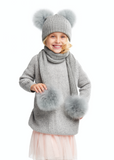 KIDS Hat with Two Oversized Fur Pompons, Grey