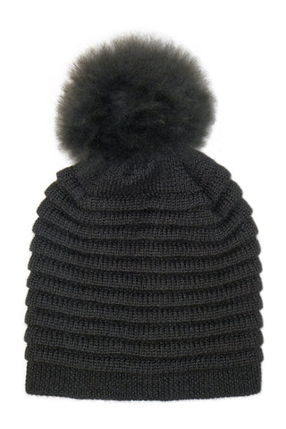 Kids Ribbed Hat (fur pompon)