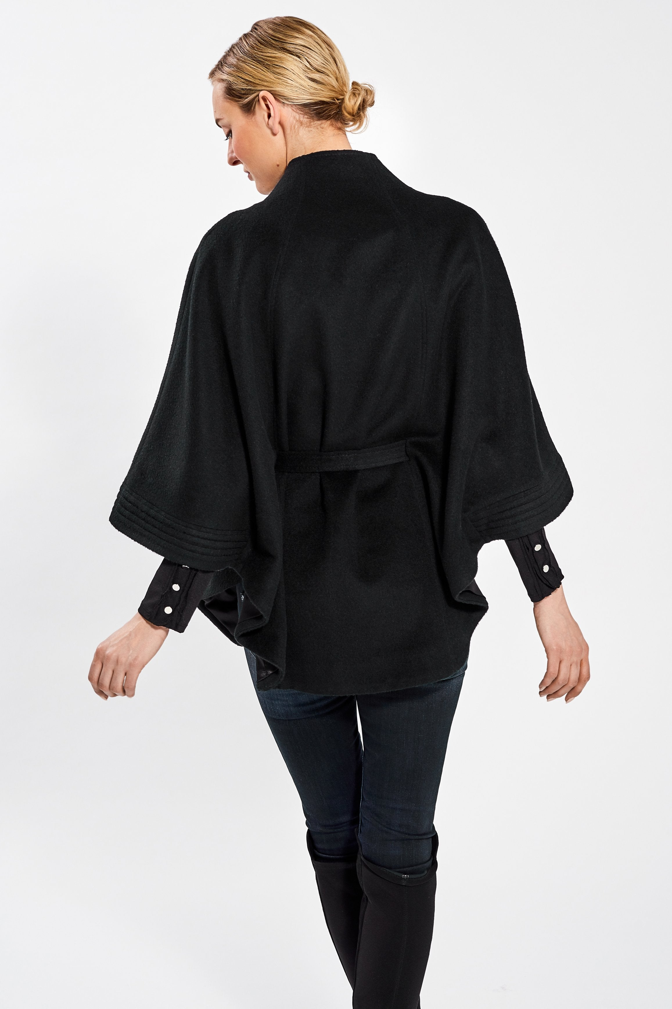 Stand Collar Cape with Ribbed Cuffs, Black