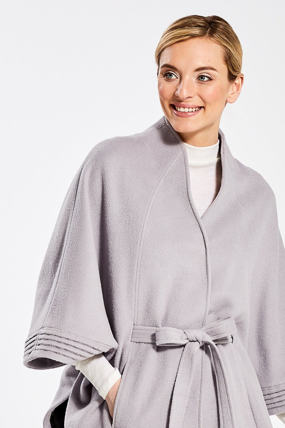 Stand Collar Cape with Ribbed Cuffs, Opal Grey