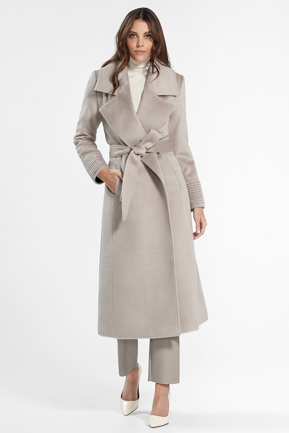Sentaler Suri Alpaca Long Notched Collar Wrap Coat featured in Suri Alpaca and available in Bleeker Beige. Seen from front.