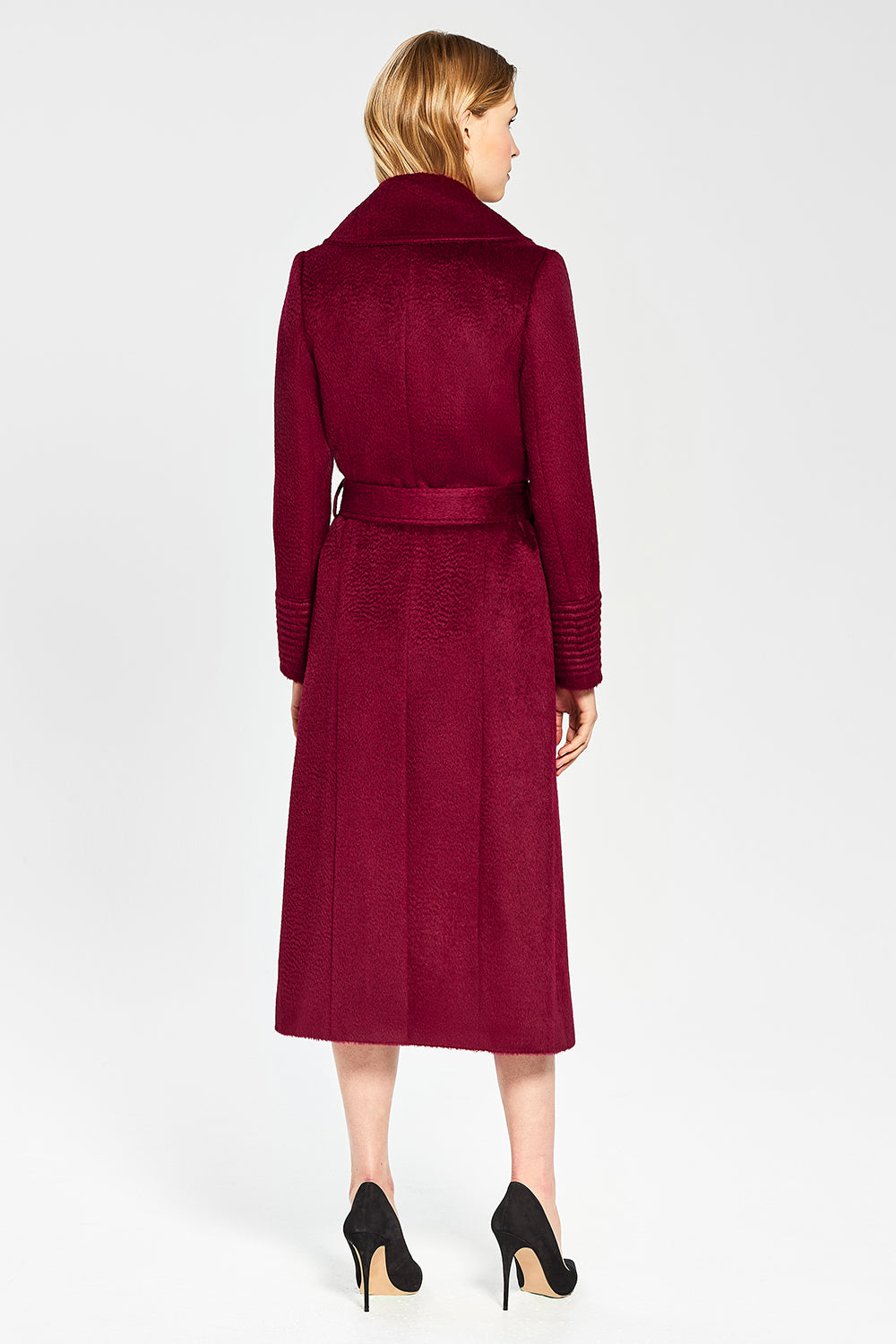 Sentaler Suri Alpaca Long Notched Collar Wrap Coat featured in Suri Alpaca and available in Bordeaux. Seen from back.