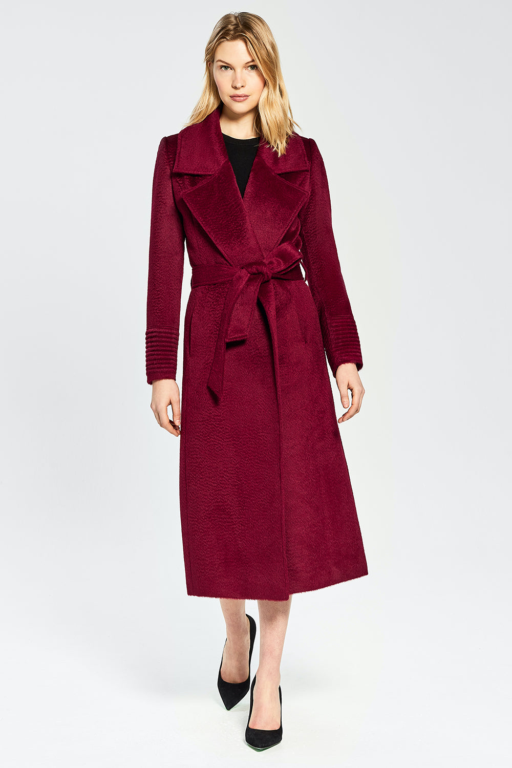 Sentaler Suri Alpaca Long Notched Collar Wrap Coat featured in Suri Alpaca and available in Bordeaux. Seen from front.