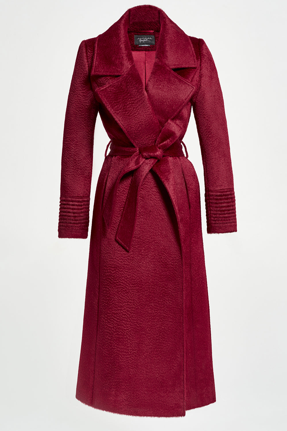 Sentaler Suri Alpaca Long Notched Collar Wrap Coat featured in Suri Alpaca and available in Bordeaux. Seen off model.