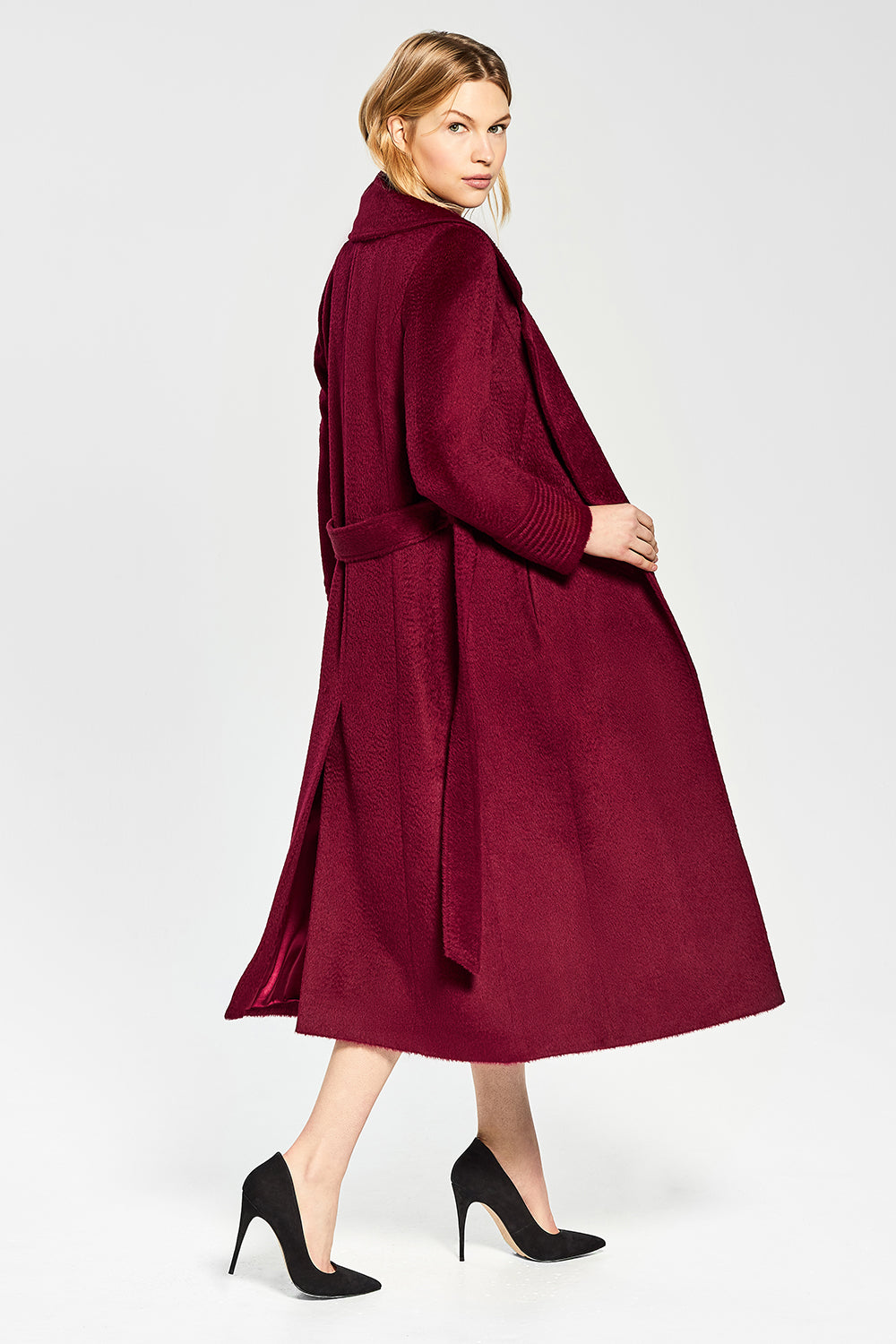 Sentaler Suri Alpaca Long Notched Collar Wrap Coat featured in Suri Alpaca and available in Bordeaux. Seen open.